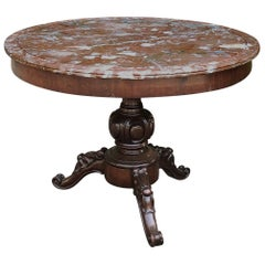 19th Century French Napoleon III Marble-Top Center Table