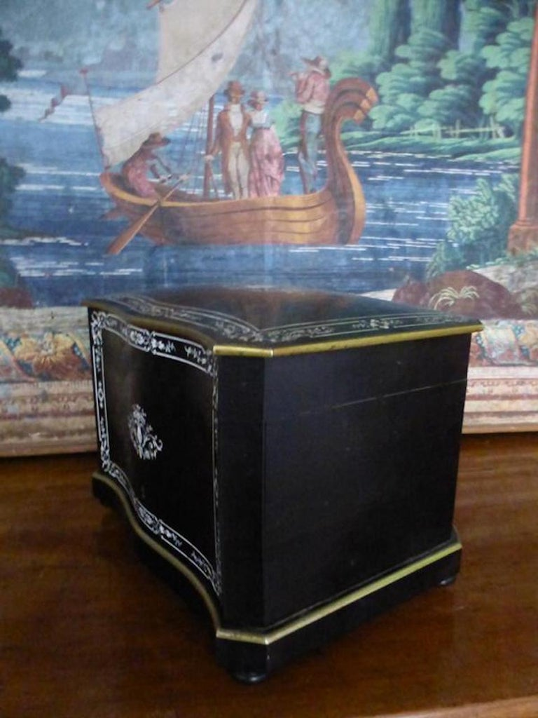 Brass 19th Century French Napoleon III Marquetry and Ivory Cigar Humidor For Sale