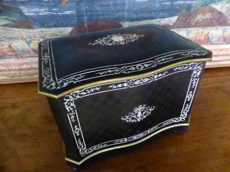 19th Century French Napoleon III Marquetry and Ivory Cigar Humidor For Sale 2
