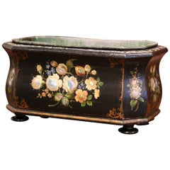 19th Century French Napoleon III Mother of Pearl and Painted Bombe Jardinière