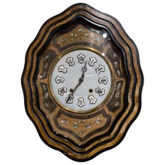 19th Century French Napoleon III Mother of Pearl Inlay and Painted Wall Clock