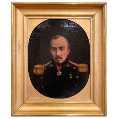 19th Century French Napoleon III Oil on Canvas Portrait in Gilt Frame