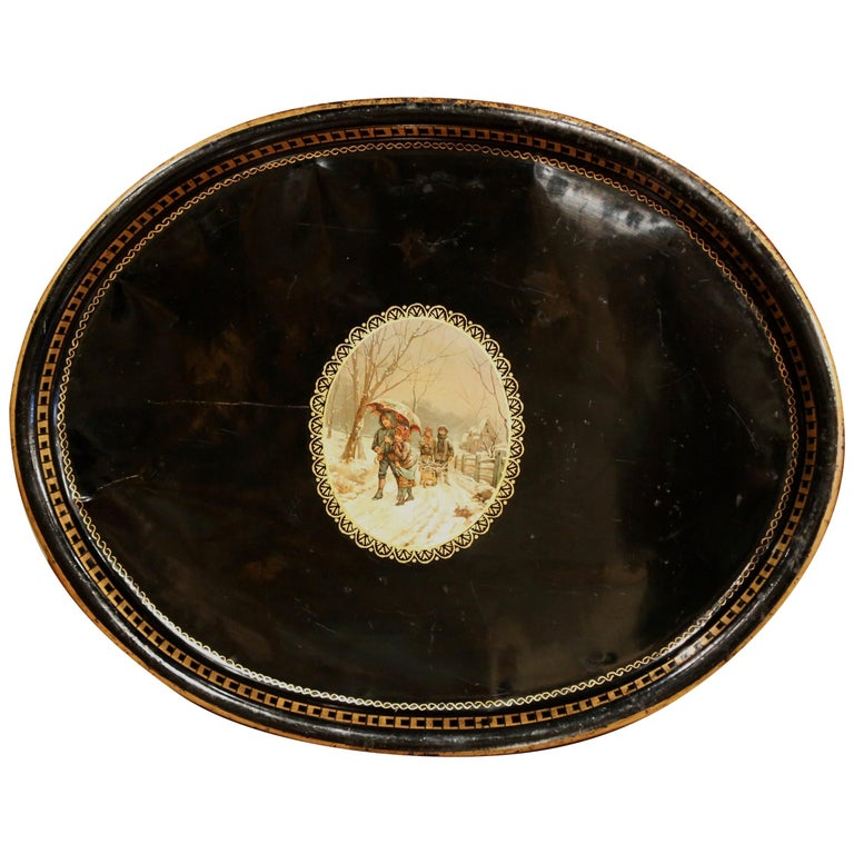 19th Century French Napoleon III Oval Tole Tray with Hand Painted Medallion For Sale