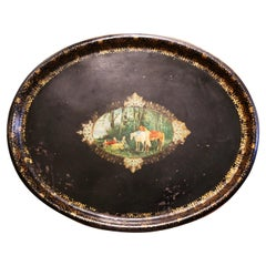 19th Century French Napoleon III Oval Tole Tray with Hand Painted Medallion