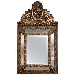 19th Century French Napoleon III Overlay Repousse Copper Wall Mirror
