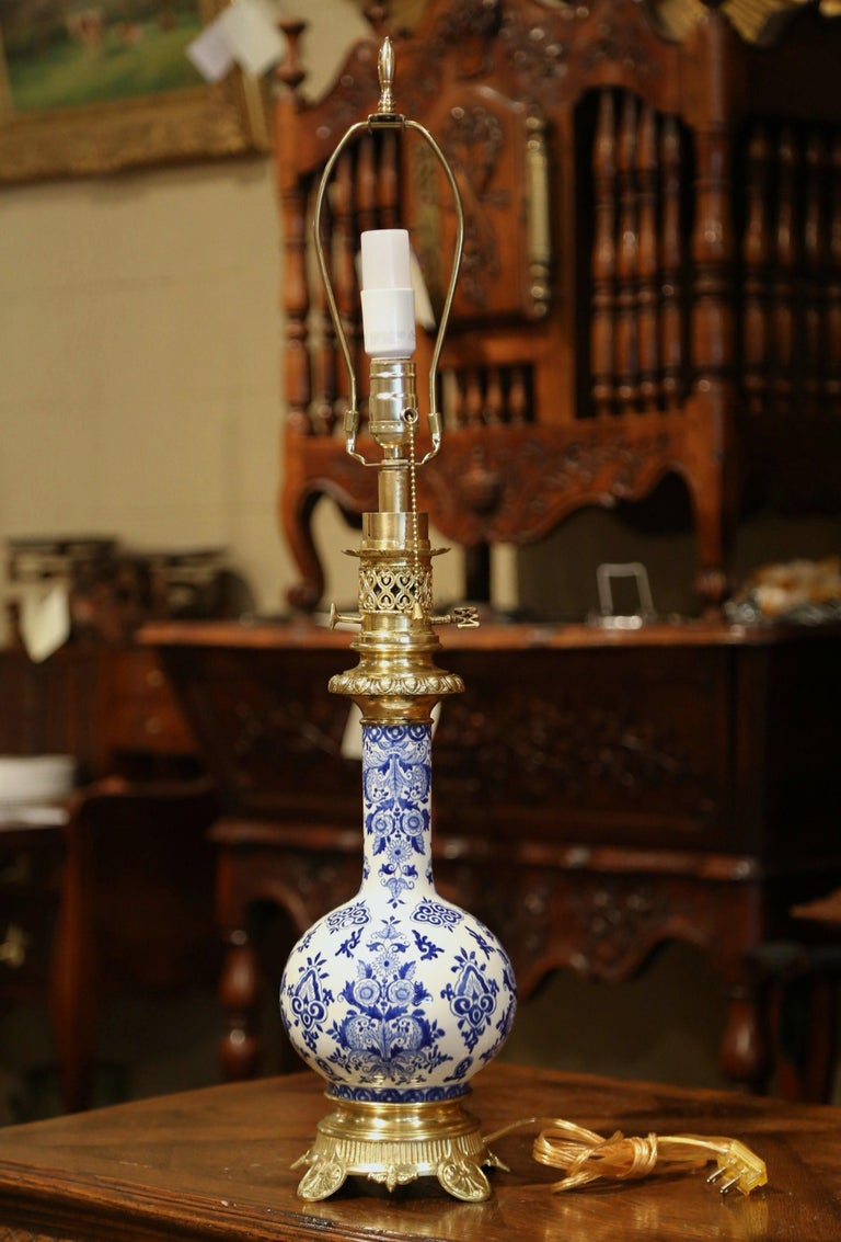 Gilt 19th Century French Napoleon III Painted Porcelain and Bronze Converted Oil Lamp For Sale