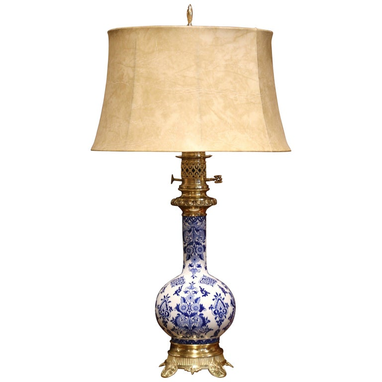 19th Century French Napoleon III Painted Porcelain and Bronze Converted Oil Lamp For Sale