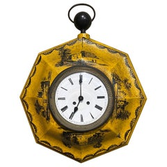 19th Century, French Napoleon III Painted Tole Wall Clock