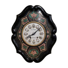 19th Century French Napoleon III Ebony Painted Wall Clock