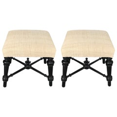 19th Century French Napoleon III Pair of Foot Stools, France