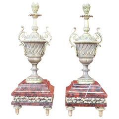 19th Century French Napoleon III Pair of Gilded Bronze Amphorae on a Marble Base