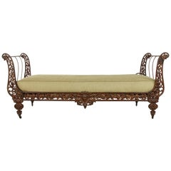 19th Century French Napoleon III Period Cast Iron Daybed or Sleigh Bed