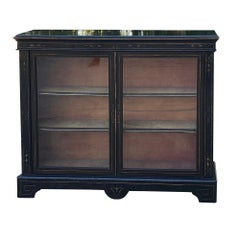 19th Century French Napoleon III Period Ebonized Barrister's Bookcase, Vitrine