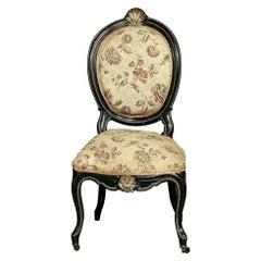 19th Century French Napoleon III Period Ebonized with Gilded Ormolu Chair