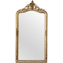 19th Century French Napoleon III Period Gilded Mirror with Fig Motif