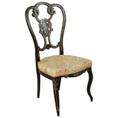 19th Century French Napoleon III Period Hand Painted Tole Fireside Chair