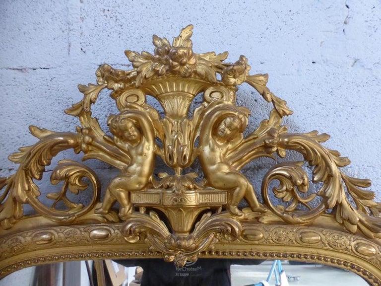 Wood 19th Century French Napoleon III Period Mirror For Sale