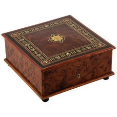 19th Century French Napoleon III Period Rosewood and Thuya Wood Marquetry Box