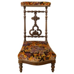 19th Century French Napoleon III Prie Dieu or Prayer Chair, Mahogany