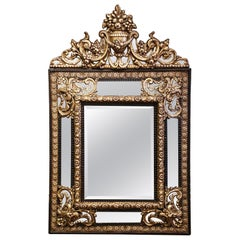 19th Century French Napoleon III Repousse Brass and Ebony Overlay Wall Mirror