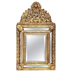 19th Century French Napoleon III Repousse Brass Mirror with Hidden Brushes