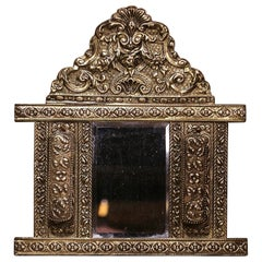 19th Century French Napoleon III Repousse Brass Wall Mirror with Brushes