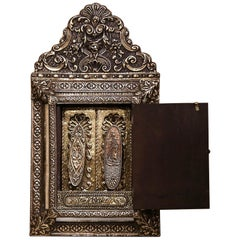 19th Century French Napoleon III Repousse Brass Wall Mirror with Inside Brushes