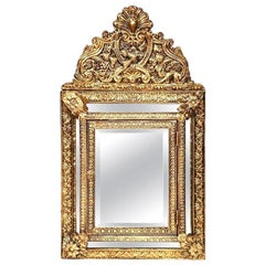 19th Century French Napoleon III Repousse Copper Mirror with Brushes Compartment