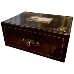 19th Century French Napoleon III Rosewood & Brass Jewelry Box with Painted Scene
