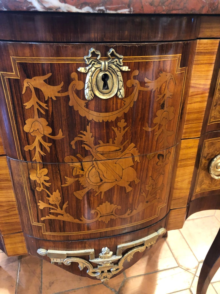 19th Century French Napoleon III° Rosewood Chest of Drawers Red Marble, 1870s In Good Condition For Sale In Roma, RM
