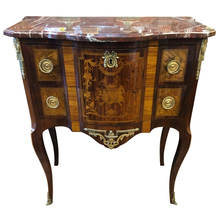 19th Century French Napoleon III° Rosewood Chest of Drawers Red Marble, 1870s For Sale