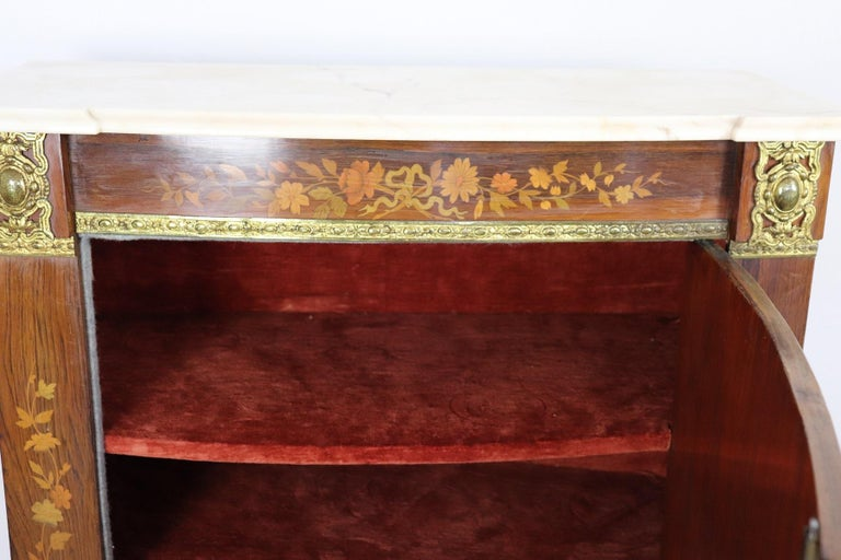 19th Century French Napoleon III Rosewood Inlay Wood Cabinet with Marble Top For Sale 8