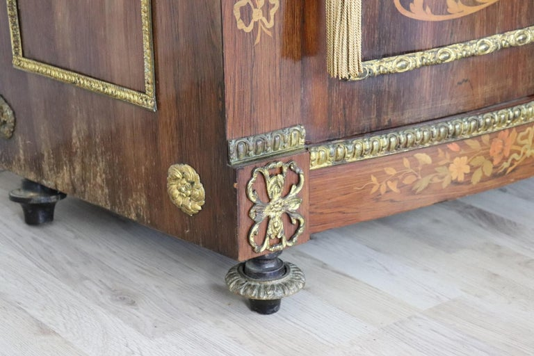 Mid-19th Century 19th Century French Napoleon III Rosewood Inlay Wood Cabinet with Marble Top For Sale