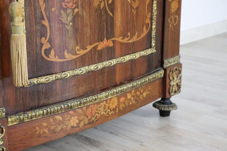 19th Century French Napoleon III Rosewood Inlay Wood Cabinet with Marble Top For Sale 1