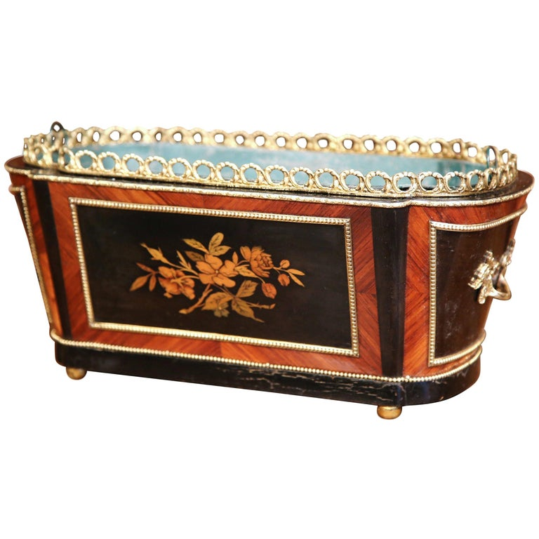 19th Century French Napoleon III Rosewood Marquetry Inlay and Bronze Jardinière For Sale