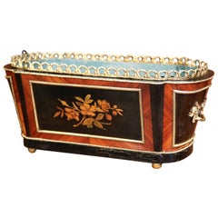 19th Century French Napoleon III Rosewood Marquetry Inlay and Bronze Jardinière