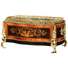 19th Century French Napoleon III Rosewood Planter with Marquetry & Bronze Decor