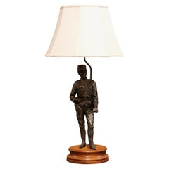 19th Century French Napoleon III Spelter Soldier Figure Table Lamp