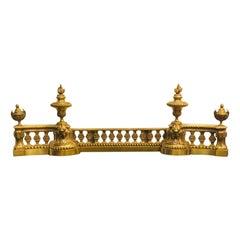 19th Century French Napoleon III Style Adjustable Bronze Fireplace Fender