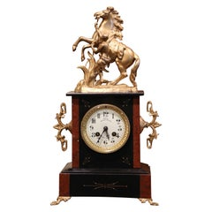 19th Century French Napoleon III Two-Tone Marble and Brass Mantel Clock by Japy