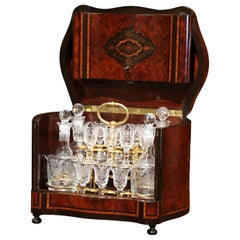 19th Century French Napoleon III Walnut and Burl Complete Cave a Liqueur