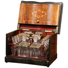 19th Century French Napoleon III Walnut Cave a Liqueur with Inlay Marquetry