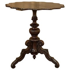 19th Century French Napoleon III Walnut Pie Crust Center Table