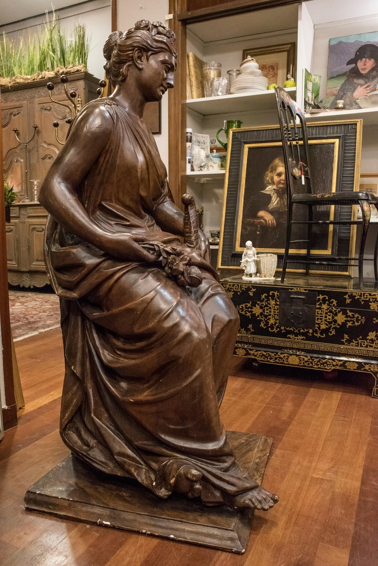 19th  French Sculpture  Napoleón III Walnut Wood , Allegory of Spring For Sale 4