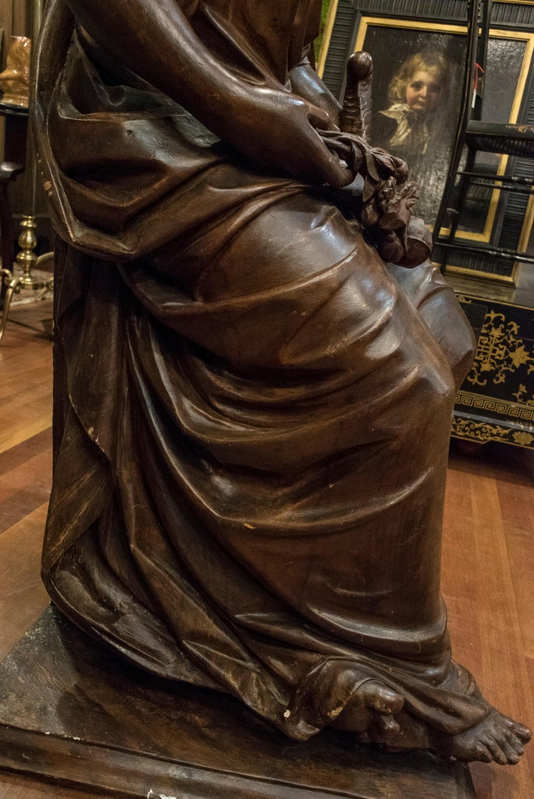19th  French Sculpture  Napoleón III Walnut Wood , Allegory of Spring For Sale 5