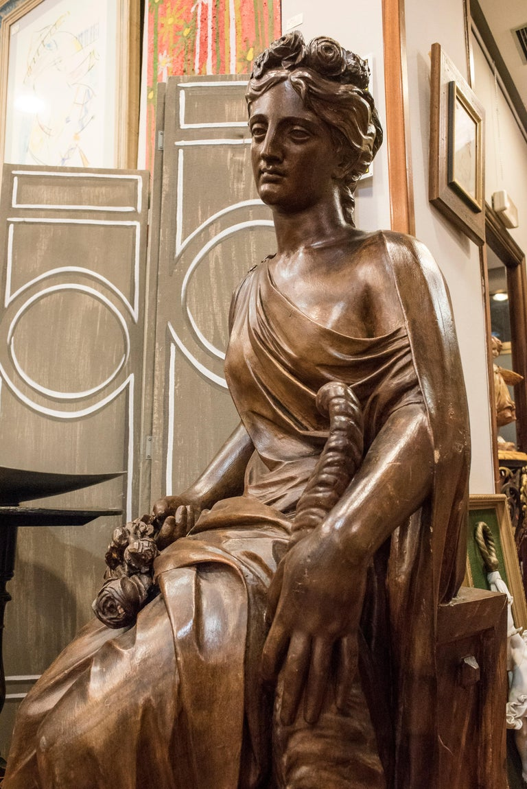 19th  French Sculpture  Napoleón III Walnut Wood , Allegory of Spring For Sale 7