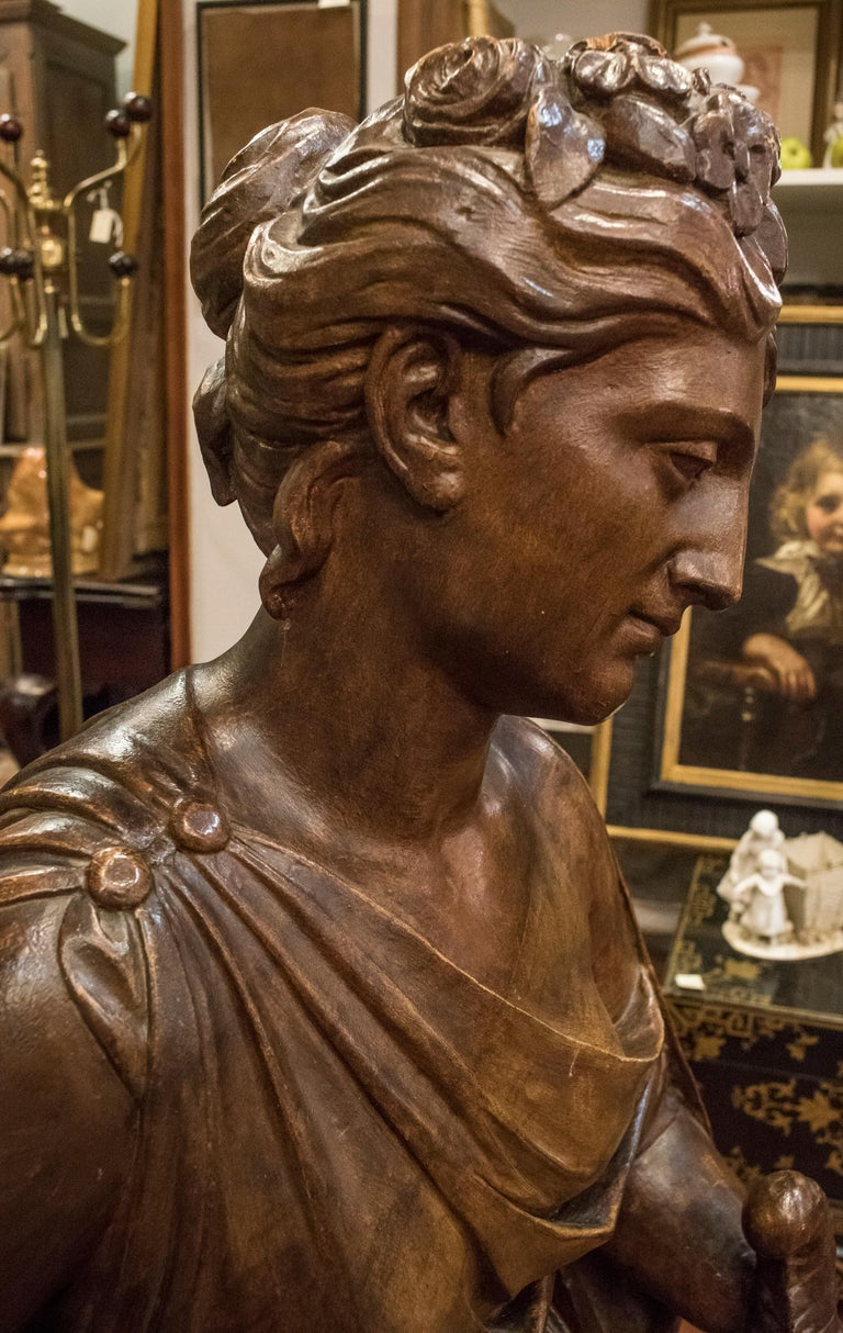 Napoleon III 19th  French Sculpture  Napoleón III Walnut Wood , Allegory of Spring For Sale