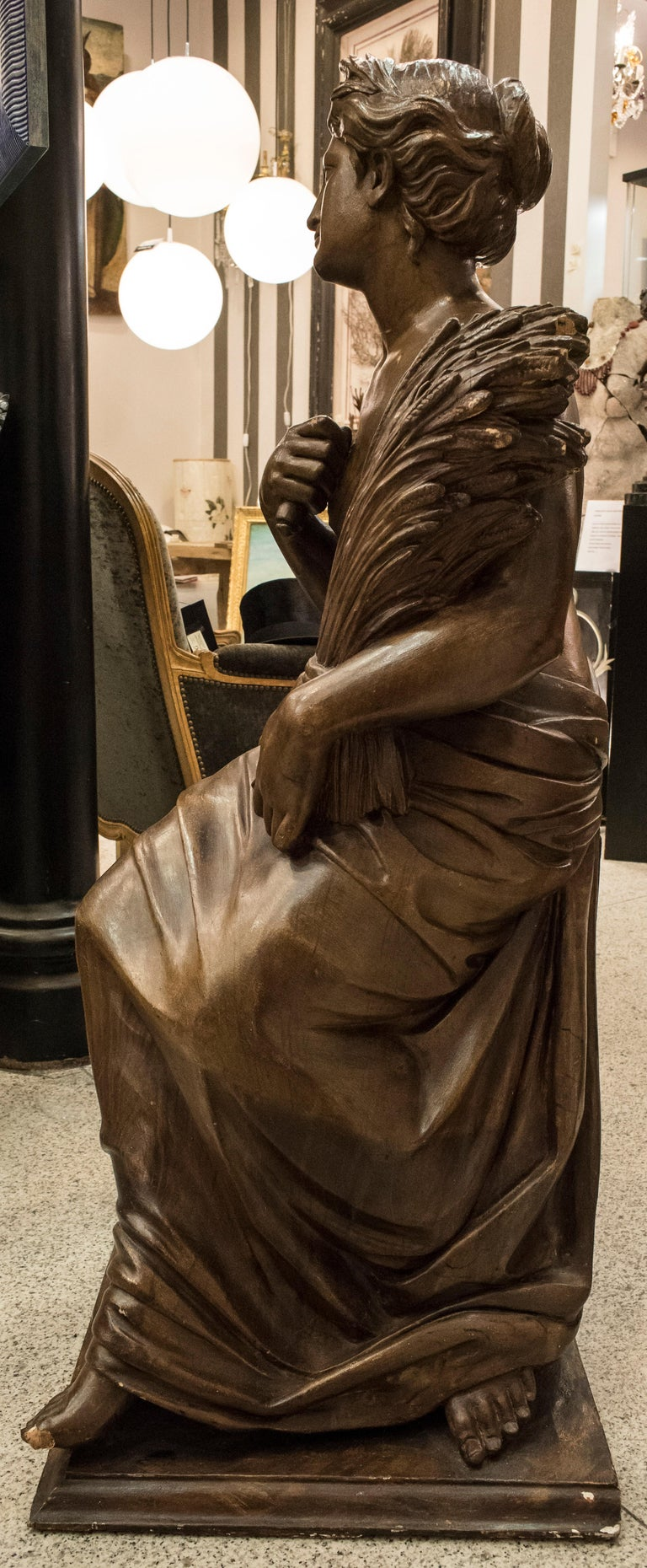 19th Century French Napoleón III Walnut Wood Sculpture, Allegory of Summer For Sale 4