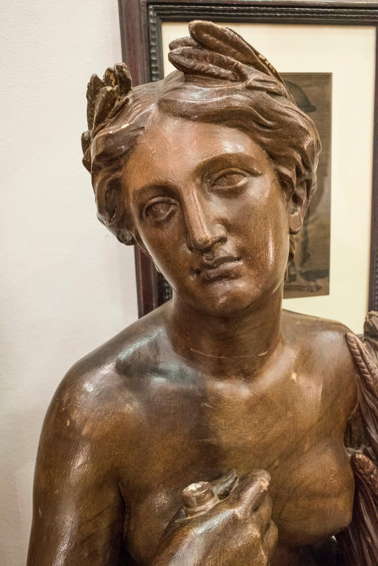 Stunning summer allegory walnut wood sculpture 19th century, Napoleón III, France, circa 1860. Monumental sculpture that together with another that represents the allegory of summer were part of a wonderful orangeries in a domaine north of