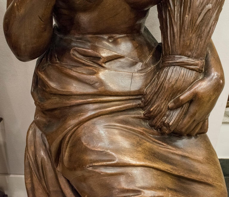 Carved 19th Century French Napoleón III Walnut Wood Sculpture, Allegory of Summer For Sale